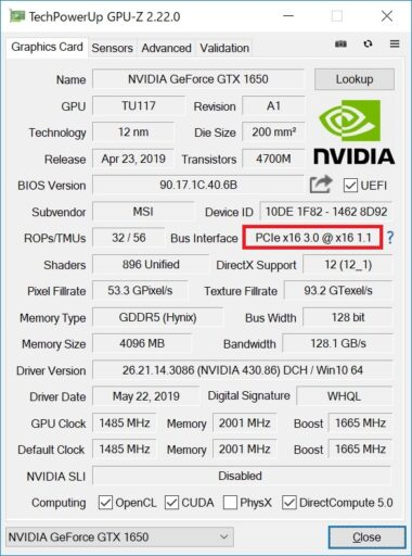 GPU-ZにてPCIeの世代を確認