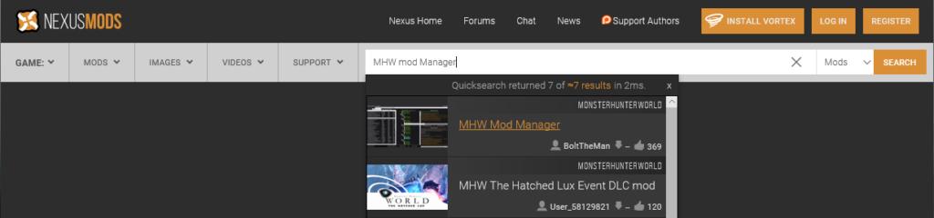 MHWのMODマネージャーのダウンロード