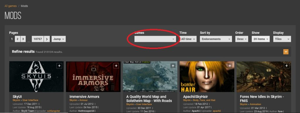 NEXUSMODのMOD検索画面