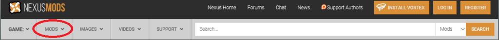 Nesxus Modのトップ画面