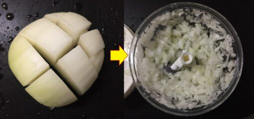 野菜カッターで玉ねぎをみじん切り