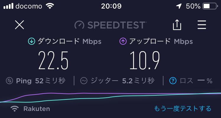 札幌市内住宅街の20:09の速度