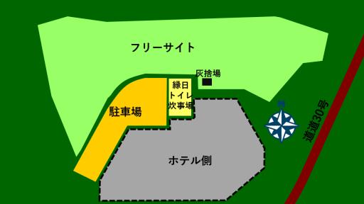 栗山さくらキャンプ場の場内マップ