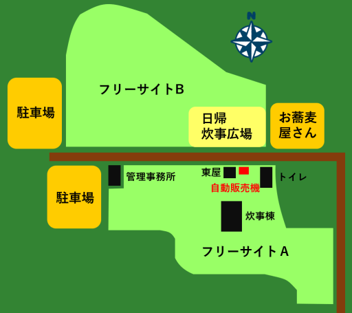 江別市森林キャンプ場のマップ