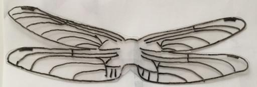 トンボの羽を描いたプラバンを切り抜き